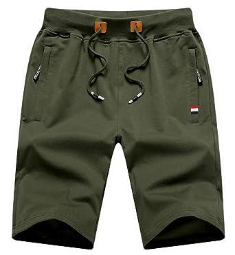 8d7d2411e1 QPNGRP Mens Shorts Casual Drawstring Zipper Pockets Elastic Waist ArmyGreen  29