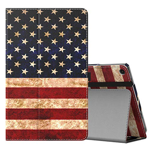 MoKo Case for All-New Amazon Fire HD 10 Tablet (7th Generation and 9th Generation, 2017 and 2019 Release) - Slim Folding Stand Cover with Auto Wake/Sleep for 10.1 Inch Tablet, US Flag