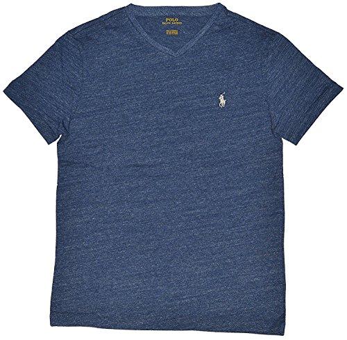 (Polo Ralph Lauren Men's Classic Fit V-Neck T-Shirt (Small, Gentian Blue Heather))