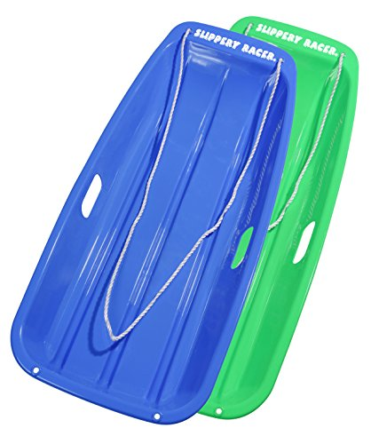 Slippery Racer Downhill Sprinter Snow Sled (2 Pack), Blue/Green