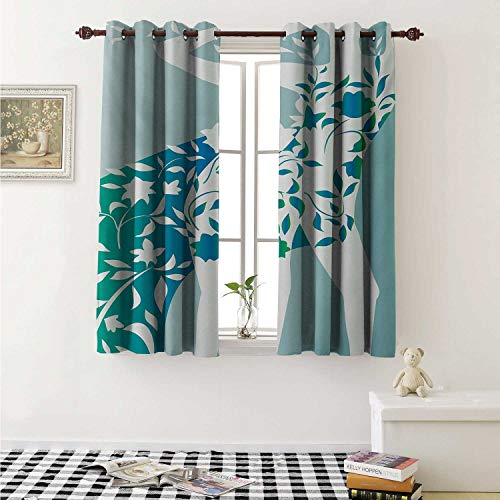 shenglv Floral Blackout Draperies for Bedroom Fashion Woman Girl Body with Flower Petal Leaves Modern Design Model Image Curtains Kitchen Valance W72 x L63 Inch Turquoise Teal White