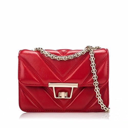 Bolso De cuero con bolsa lateral pequeña cadena de moda bolsa bolsa de cuero de oveja mini bolsa, 21*8*14cm, azul Rojo