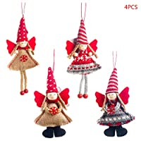 honuansortory 4pcs/Set Christmas Angel Girl Dolls Xmas Tree Ornament Pendant Party Decoration Home Festival Party Kids Gifts