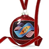 Christmas Decoration Friendship Flags USA and Delaware region America (USA) Ornament