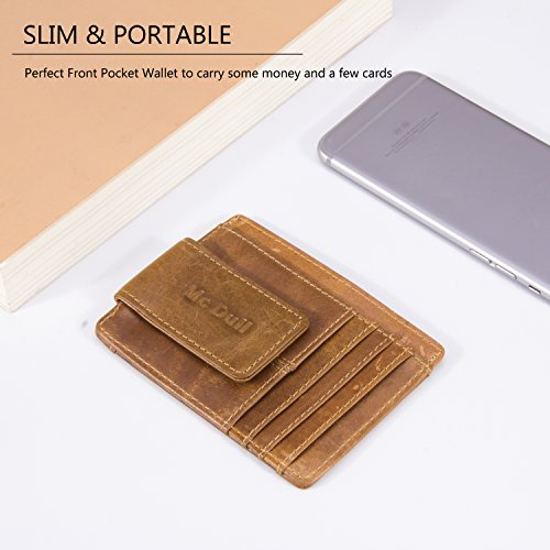 Wallets with Money Clip Mens Minimalist Genuine Leather Magnet Front Pocket Wallet RFID Blocking (Light Brown) by Mcdull (Image #5)