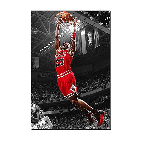 Autographed Slam Dunk - Michael Jordan Wing Slam Dunk Air Basketball Legend Sports Poster Pictures Oil Painting Canvas Prints Artwork New Home Gifts Home Decor