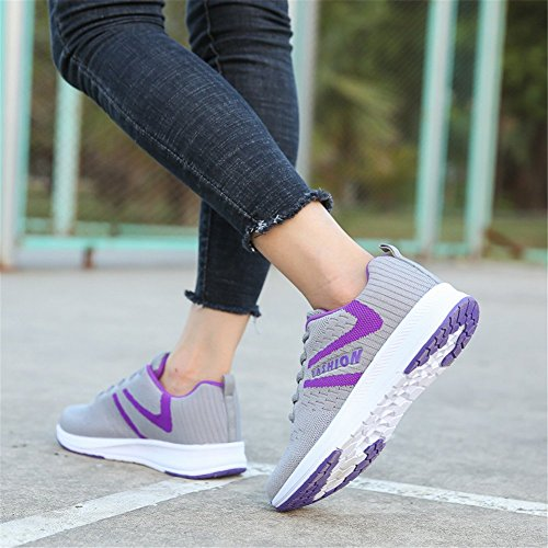 Gray Womens Trainers Ladies a37 amp;BOY Fitness Gym Walking Sneakers ALI Shoes Lightweight Trainers Jogging purple xwYpqZfn4