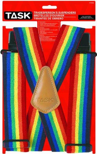 Task Tools T77418 Rainbow Pattern Tradesperson's Suspenders, Full Elastic (Suspenders Rainbow)