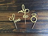 Engagement Cupcake Toppers Picks Bridal Shower/Valentine Day/Wedding Party Favors Cake Decorations (Mix 3 designs: 24pcs/lot)