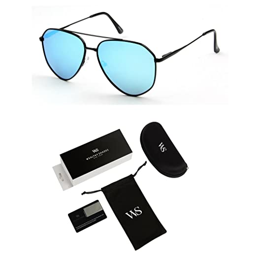 2541a12393 WealthyShades- Aviator Sunglasses for Women and Men Mirrored Flat Lens