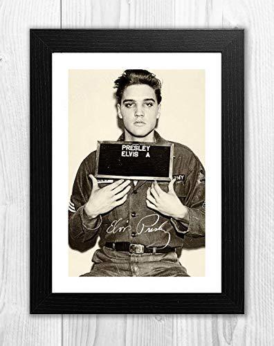 Engravia Digital Elvis Presley (2) Mug Shot Poster Reproduction Autgraph Photo A4 Print(Black Frame)