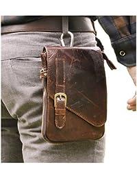 Mens Genuine Leather Coffee Fanny Small Messenger Shoulder Satchel Waist Bag Pack