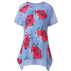 Euone Dress Clearance Women Vintage Boho Dress Summer Floral Printed Lace Patchwork Mini Dresses Short Sleeve Beach Sundress