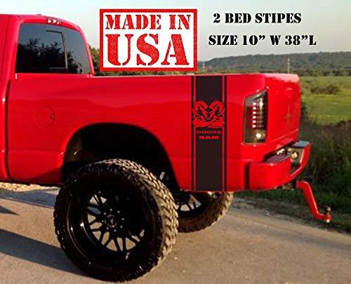 (Dodge Ram Muscle Rear Bed 2002-2018 Dodge Ram 1500 2500 Body Rear Side Bed Decals, Black Stripes Vinyl Stickers, racing Custom auto Graphics SRT hellcat, Mopar, Hemi 5.7 L)