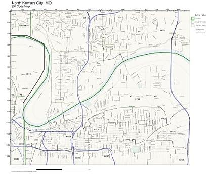 Amazon.com: ZIP Code Wall Map of North Kansas City, MO ZIP Code Map ...