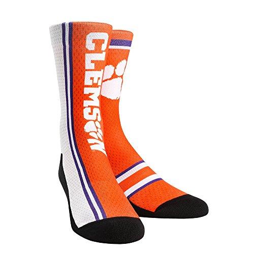 Rock 'Em Elite, Clemson Tigers - 2017 Jersey Series Orange, Licensed Crew Socks (S/M (SZ 6-8.5)) 360 Cushioned Cotton Series
