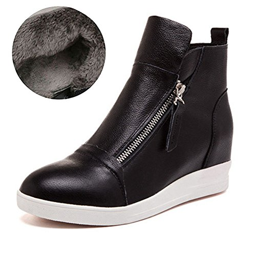 Height Boot Round Top High Black Shoes Wedge Heel Womens 1 Sneakers Toe Hidden Zipper Platform Increased GIY zExOYwFqw