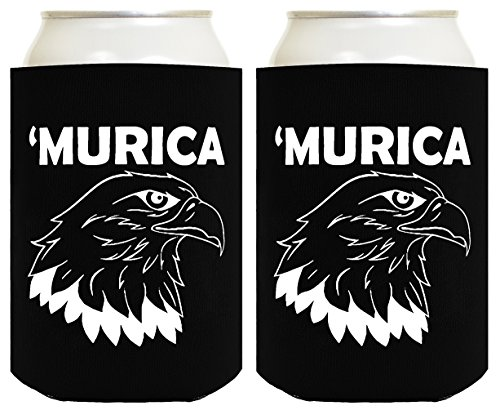 Bald Eagle Mug - Funny Can Coolie Murica Bald Eagle 2 Pack Can Coolies Black
