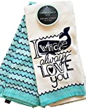 Cynthia Rowley Set of Two Kitchen Towels ''I Whale Always Love You'' Aqua, Blue, and White