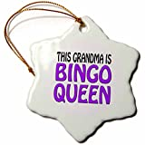 3dRose This Grandma is Bingo Queen, Purple, Snowflake Ornament, Porcelain, 3-inch (ORN_149773_1)