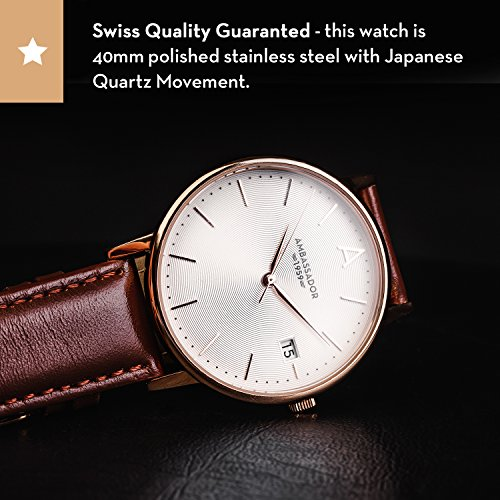 832545b598c Ambassador Luxury Watch for Men - Designer Heritage 1959 Gold Case with  Brown Leather Strap and Swiss Quality  Amazon.ca  Watches