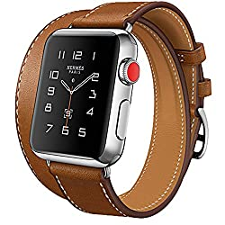 Apple Watch Series 3 Band, Ibazal 42mm [Dual Loop] Leather Band Genuine Leather Replacement Band For Apple Watch Series 3 & Series 2 & Series 1 - Brown 42mm