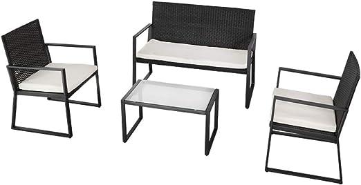 Aktive 61009 Conjunto muebles ratán para jardín, Multicolor: Amazon.es: Jardín