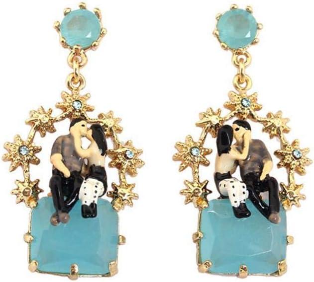Yarmy Pendientes de Damas Amantes del Oro Esmalte Esmalte Azul Piedras Preciosas Pendientes tamaño: 3.5 * 1,8 cm
