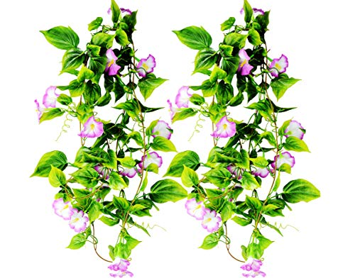 AyFashion Artificial Morning Glory Flower Vines, 2pcs 15Feet Hanging Plants Silk Garland Fake Green Plant Home Garden Wall Fence Indoor Outdoor Wedding Birthday Decor (Purple) ()