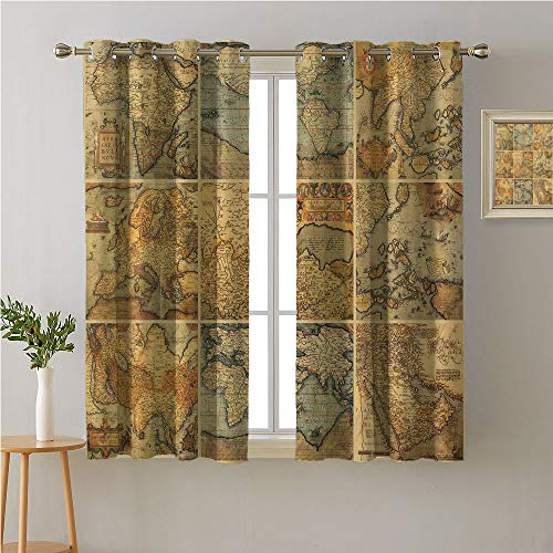 Jinguizi World Map Grommet Curtain Doorway,Collage with Antique Old World Maps Vintage Ancient Collection of Civilization,Pattern Darkening Curtains,108W x 72L