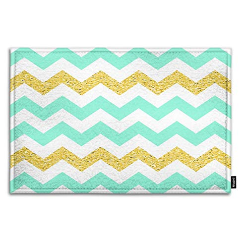 Mugod Indoor/Outdoor Doormat Retro Light Mint Chevron Background with Golden Glitter Effect Funny Doormats Bathroom Kitchen Decor Area Rug Non Slip Entrance Door Floor Mats, 15.7