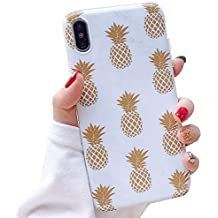 SUBESKING Compatible iPhone Xs Case/iPhone X Case,Cute Slim Fit Soft TPU Marble Golden Pineapple Pattern Protective Phone Cover Cases for Women Girls (Gold Pineapple)