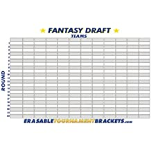 2017 Reusable Fantasy Football Draft Board Chart Kit - Holds Up To 12 Teams & 22 Rounds + Marker