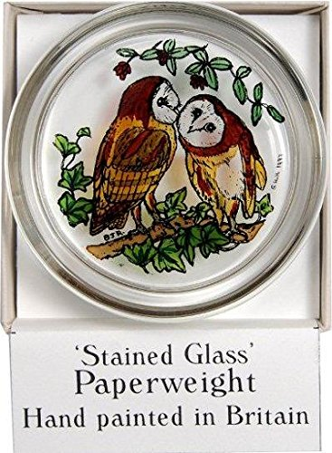 Decorative Hand Painted Stained Glass Paperweight in a Barn Owls Design