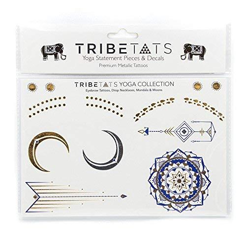 Yoga Collection by TribeTats - Designer Metallic Temporary Tattoos - Gold Purple Silver Henna Inspired Body Art - Mandalas, Chakras, Om Symbols Moons, Elephants - Boho Music Accessories from TribeTats