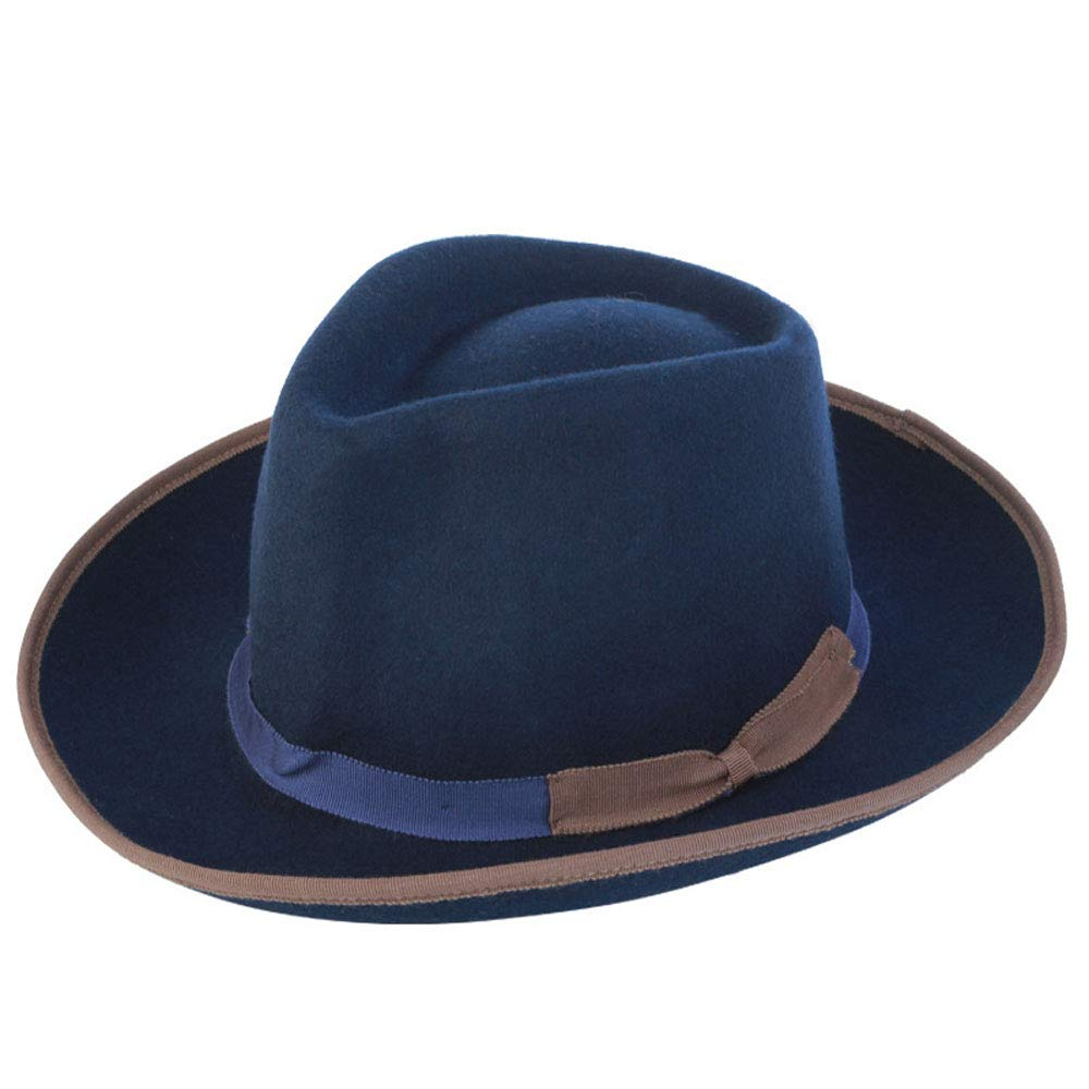 LL Hat Unisex Winter 100% Wool Shallow Fedora Hat Panman Hafashion England (Color : Blue, Size : 56-58cm)