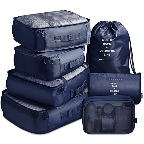 VAGREEZ Packing Cubes 7 Set Lightweight Travel Luggage Organizers with Laundry Bag or Toiletry Bag (Navy)