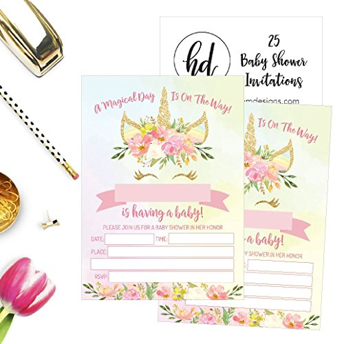 25 Pink Blush Gold Girl Unicorn Baby Shower Invitations, Cute Floral Printed Fill or Write In The Blank Invite, Flower Shabby Chic Unique Custom Vintage Coed Party Card Stock Paper Supplies Decoration by Hadley Designs (Image #2)