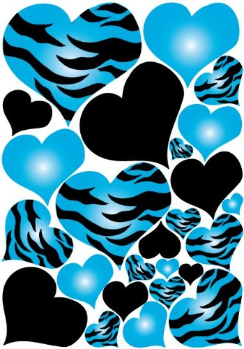 - Blue Radial Zebra Print Hearts Wall Sticker Decals on a 18in by 25in sheet