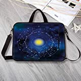 Constellation Custom Neoprene Laptop Bag,Collection of Zodiac Signs in a Geometric Circle Horoscopes Sun Laptop Bag for Men Women Students,8.7'L x 11'W x 0.8'H