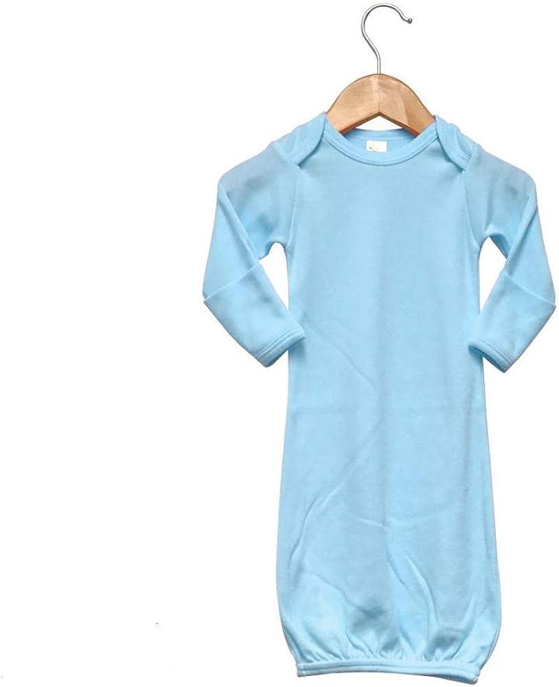 Laughing Giraffe Baby Blank Long Sleeve Sleeper Gown With Mitten Cuffs 100% Cotton- Blue (0-3 Months -2850)