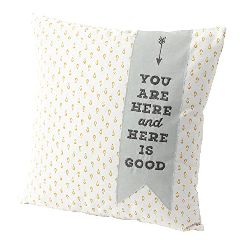 (Hallmark Home Decorative Throw Pillow with Insert (20x20) Large Golden Print with Blue Banner You Are Here and Here Is Good)