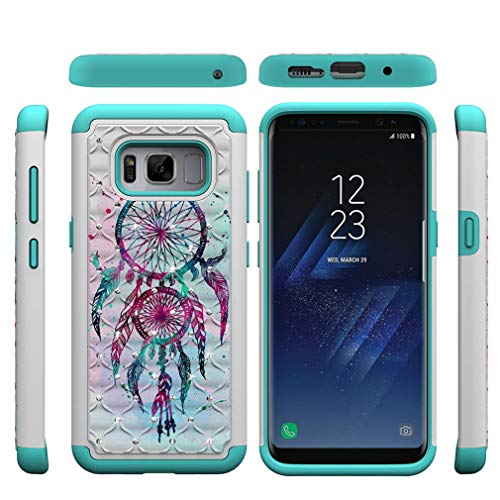 Galaxy S8 Case,Durable 2 Layer Case Inner Soft TPU Bumper Lightweight Hard Back PC Cover with Creative Pattern & Point Drill Impact Resistant Case Compatible with Samsung Galaxy S8 -Dreamcatcher (Best Year For Cristal Champagne)