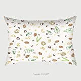 Custom Satin Pillowcase Protector Nuts And Plant Foods For Vegetarians And Vegans Doodle Seamless Pattern Vector Illustration 211943848 Pillow Case Covers Decorative