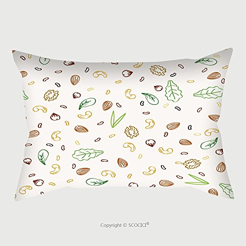 Custom Satin Pillowcase Protector Nuts And Plant Foods For Vegetarians And Vegans Doodle Seamless Pattern Vector Illustration 211943848 Pillow Case Covers Decorative by chaoran