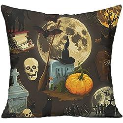 Halloween Pumpkin 18 X 18 Inches Decorative Cotton Linen Blend Throw Pillow Cover Square Pillow Case Cushion Cover
