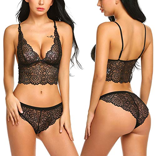 961be8f6d5 Loveje Women Bra Lingerie 2 Piece Lace Babydoll Sexy Bralette Panty Set