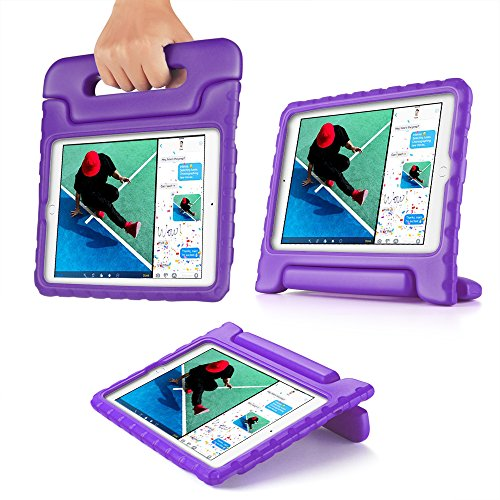 TNP iPad Air Case - Kids Shock Proof Soft Light Weight Childproof Impact Drop Resistant Protective Stand Cover Case with Handle forApple iPad Air (iPad 5th Gen 2013 Model) (Purple)