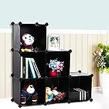 SONGMICS Storage Cube Organizer DIY Plastic Closet Shelf with Rubber Hammer 6-Cube Bookcase Cabinet Black ULPC06H