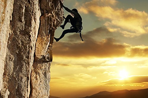 Rock climbing - Nature Poster Canvas Art Print (36x24inch) ()